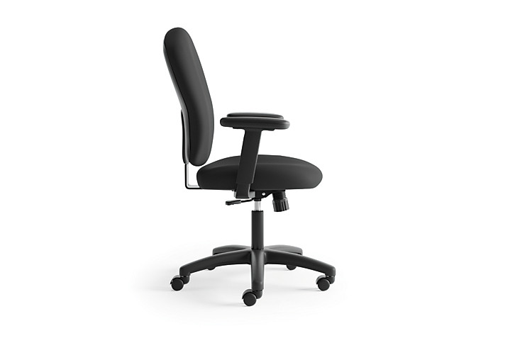basyx HVL200 Series Mid-Back Task Chair Black Leather Side View HVL220.VA10