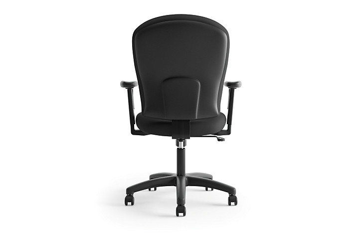 basyx HVL200 Series Mid-Back Task Chair Black Leather Back View HVL220.VA10