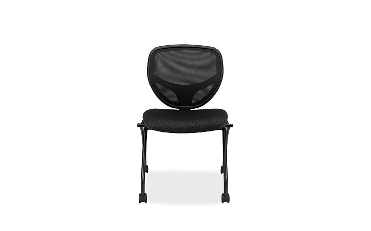 basyx HVL300 Series Mesh Nesting Chair Black Front View HVL302.MM10