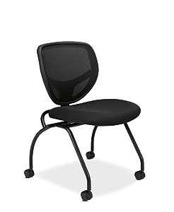 basyx HVL300 Series Mesh Nesting Chair Black Front Side View HVL302.MM10
