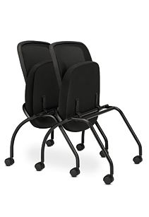 basyx HVL300 Series Mesh Nesting Chairs Black Folded Front Side View HVL302.MM10