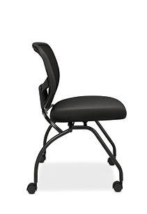 basyx HVL300 Series Mesh Nesting Chair Black Side View HVL302.MM10