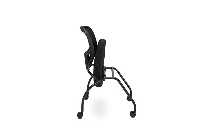 basyx HVL300 Series Mesh Nesting Chair Black Folded Side View HVL302.MM10