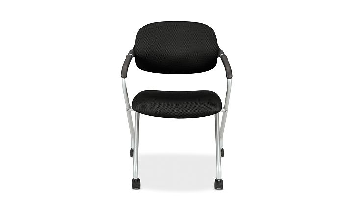 basyx HVL300 Series Nesting Chair Black Front View HVL303.MM10.X