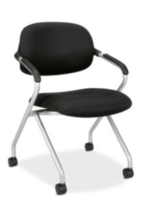 basyx HVL300 Series Nesting Chair Black Front Side View HVL303.MM10.X