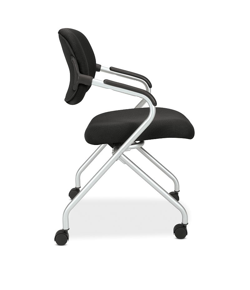 basyx HVL300 Series Nesting Chair Black Side View HVL303.MM10.X