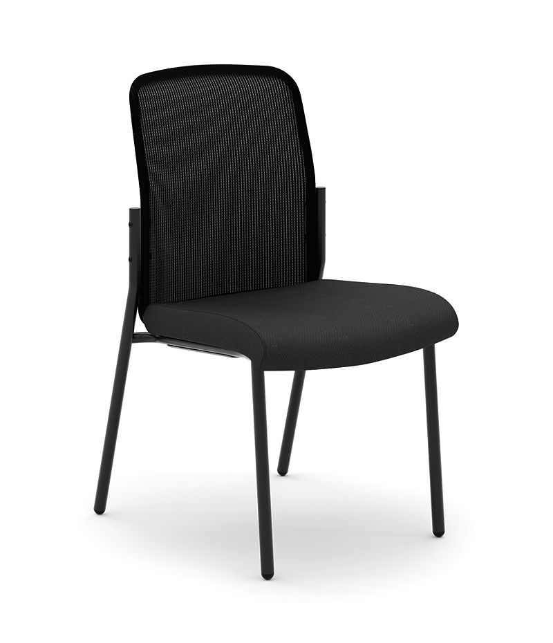 basyx HVL508 Series Mesh Back Stacking Multi-Purpose Chair Black Front Side View HVL508.ES10