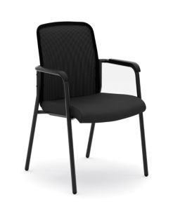 basyxHVL518 Series Mesh Back Stacking Multi-Purpose Chair Black Front Side View HVL518.ES10