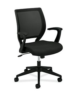 basyx HVL521 Series Mesh Back Task Chair Black Leather Front Side View HVL521.VA10