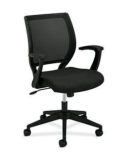 basyx HVL521 Series Mesh Back Task Chair Black Leather Front Side View HVL521.VA10