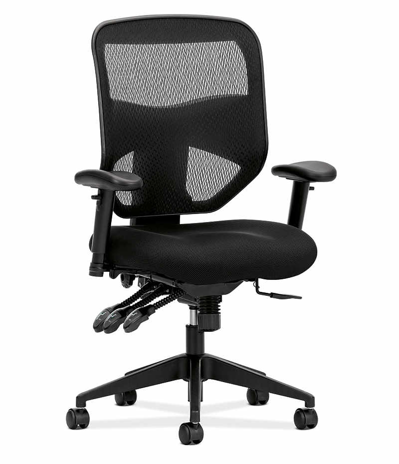 basyx HVL530 Series Mesh Task Chair Black Front Side View HVL532.MM10