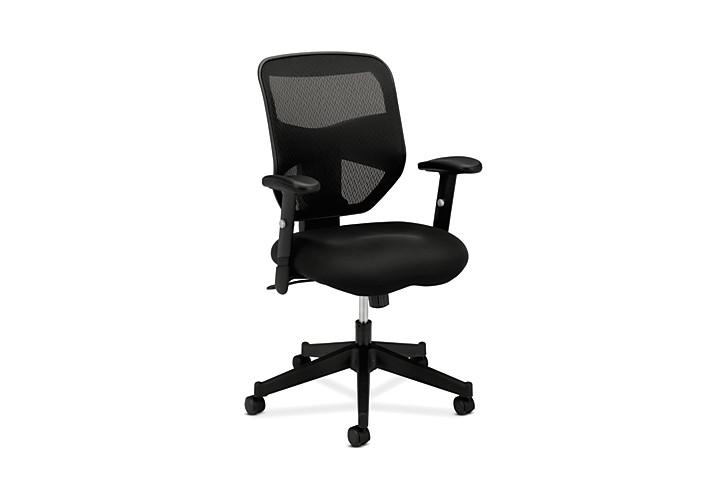 basyx HVL531 Series Mesh Back Task Chair Black Front Side View HVL531.MM10