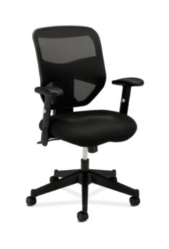 basyx HVL531 Series Mesh Back Task Chair Black Front Side View HVL531.MM10