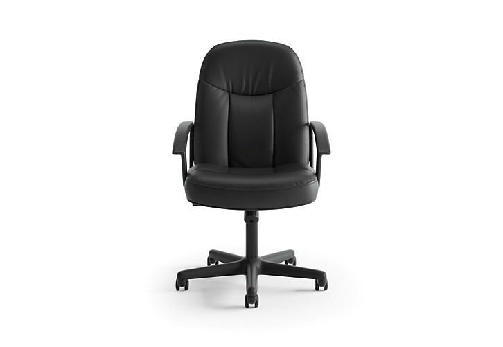 basyx HVL600 Series Executive High-Back Chair Black Leather Front View HVL601.ST11