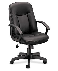 basyx HVL600 Series Executive High-Back Chair Black Leather Front Side View HVL601.ST11