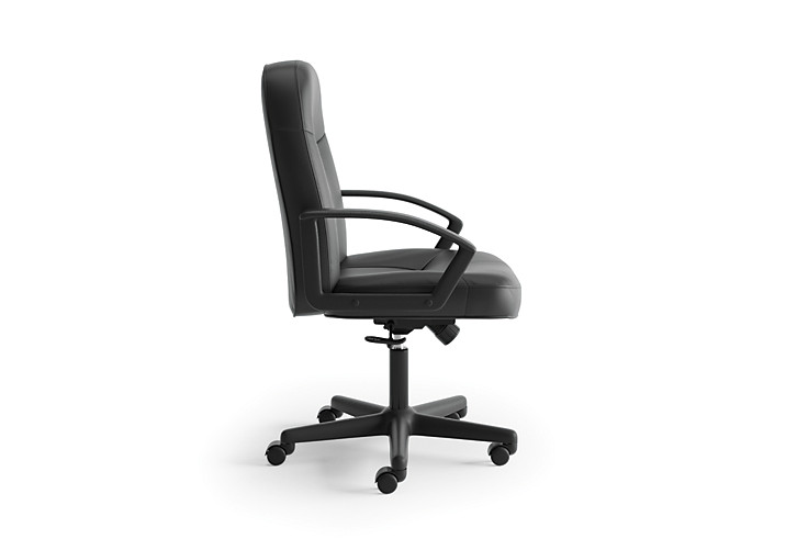 basyx HVL600 Series Executive High-Back Chair Black Leather Side View HVL601.ST11