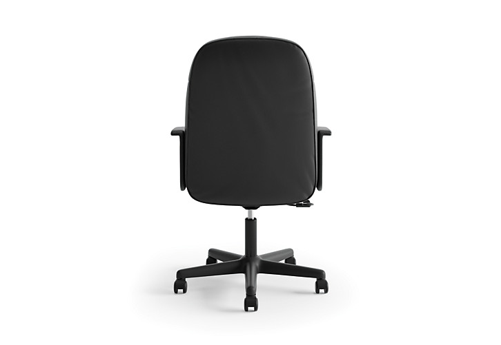 basyx HVL600 Series Executive High-Back Chair Black Leather Back View HVL601.ST11