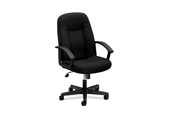basyx HVL600 Series Executive High-Back Chair Black Front Side View HVL601.VA90