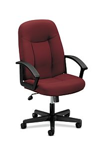 basyx HVL600 Series Executive High-Back Chair Red Front Side View HVL601.VA62