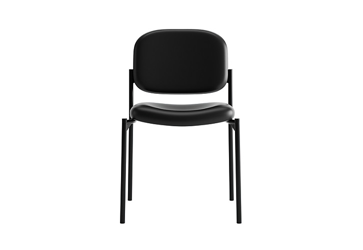 basyx HVL600 Series Stacking Guest Chair Black Leather Armless Front View HVL606.SB11