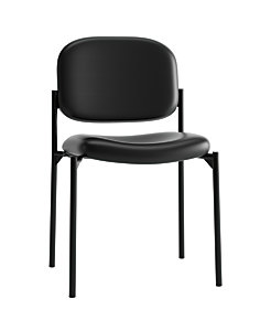 basyx HVL600 Series Stacking Guest Chair Black Leather Armless Front Side View HVL606.SB11