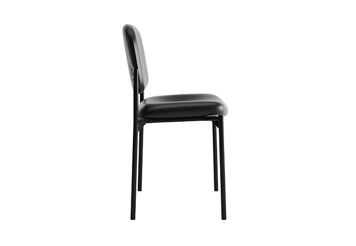 basyx HVL600 Series Stacking Guest Chair Black Leather Armless Side View HVL606.SB11