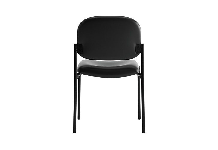 basyx HVL600 Series Stacking Guest Chair Black Leather Armless Back View HVL606.SB11
