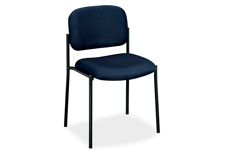basyx HVL600 Series Stacking Guest Chair Blue Leather Armless Front Side View HVL606.VA90