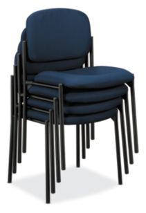 basyx HVL600 Series Stacking Guest Chairs Blue Leather Armless Front Side View HVL606.VA90