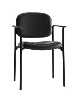 basyx HVL616 Series Stacking Guest Chair Black Leather Front Side View HVL616.SB11