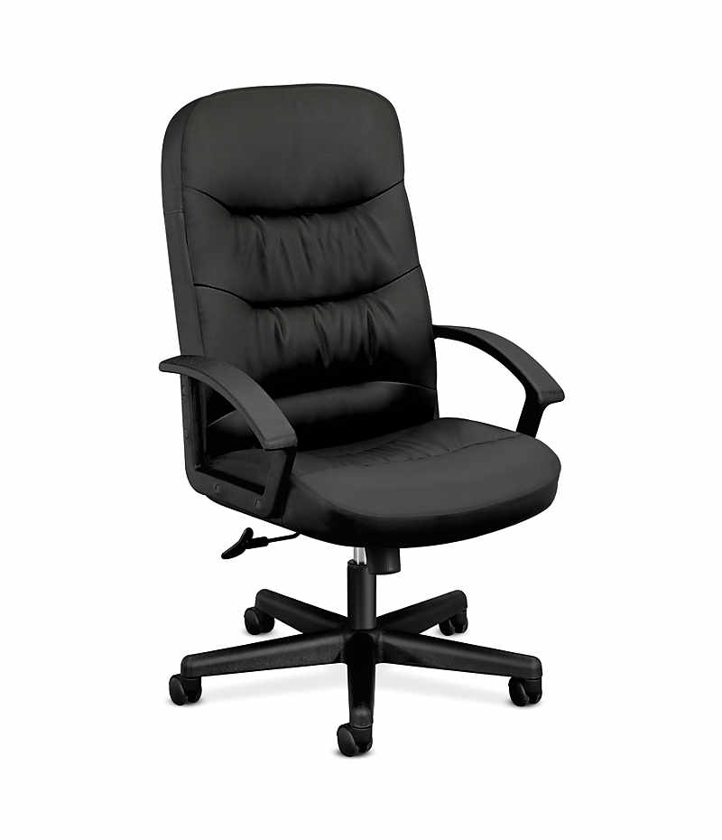 basyx HVL640 Series Executive High-Back Chair Black Leather Front Side View HVL641.SB11