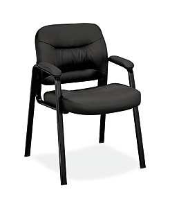 basyx HVL640 Series Guest Chair Black Leather Front Side View HVL643.SB11
