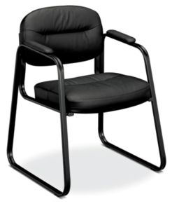 basyx HVL653 Series Sled Base Chair Black Leather Front Side View HVL653.SB11