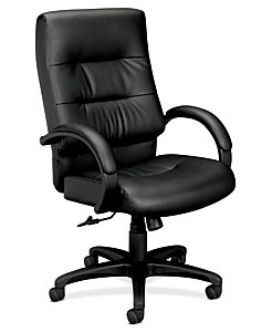 basyx HVL690 Series Executive High-Back Chair Black Leather Front Side View HVL691.SP11