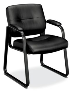 basyx HVL690 Series Sled Base Guest Chair Black Leather Front Side View HVL693.SP11
