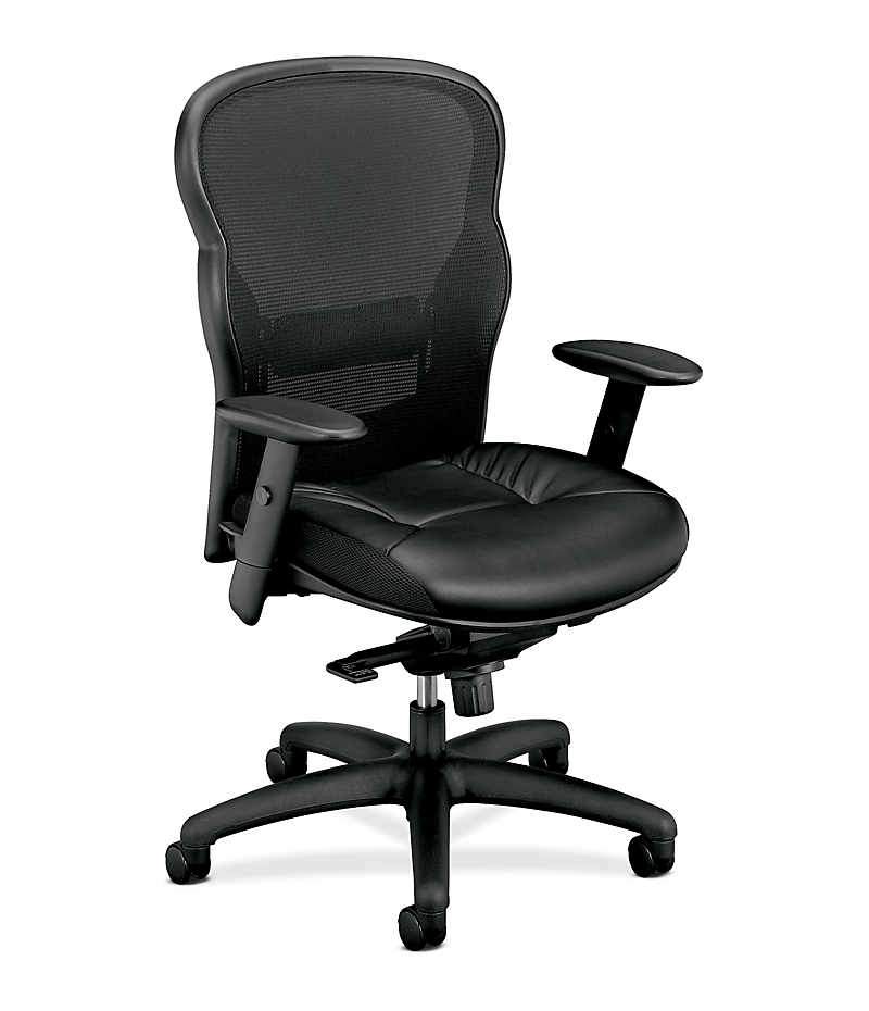 basyx HVL700 Series Executive Mesh High-Back Chair Leather Seat Front View HVL701.ST11