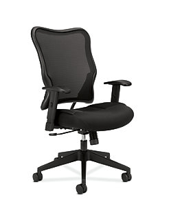 basyx HVL700 Series Mesh High-Back Task Chair Black Front Side View HVL702.MM10