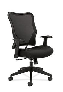 basyx HVL700 Series Mesh High-Back Task Chair Black Front Side View HVL702.MM10