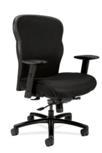 basyx HVL700 Series Mesh Big and Tall Executive Chair Black Front Side View HVL705.VM10