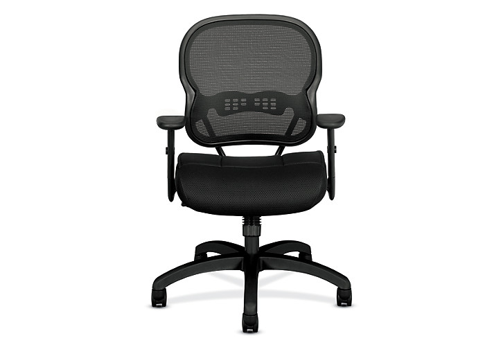 basyx HVL700 Series Mesh Mid-Back Task Chair Black Front View HVL712.MM10