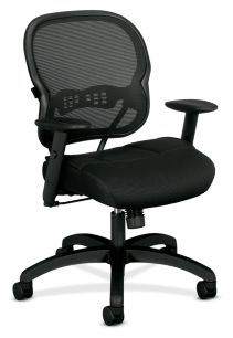 basyx HVL700 Series Mesh Mid-Back Task Chair Black Front Side View HVL712.MM10