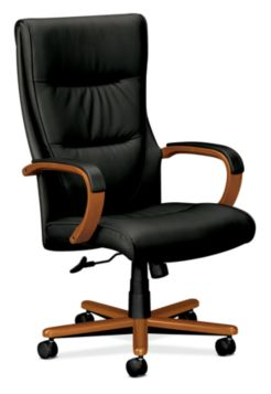 basyx HVL844 Series Executive High-Back Chair Gray Leather Bourbon Cherry Finish Front Side View HVL844.H.SP11