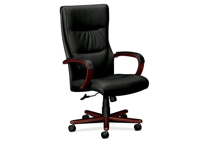 basyx HVL844 Series Executive High-Back Chair Gray Leather Mahogany Finish Front Side View HVL844.N.SP11