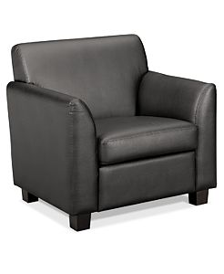 basyx HVL870 Series Tailored Club Chair Gray Leather Front Side View HVL871.ST11