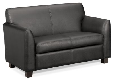 basyx HVL870 Series Tailored Loveseat Gray Leather Front Side View HVL872.ST11