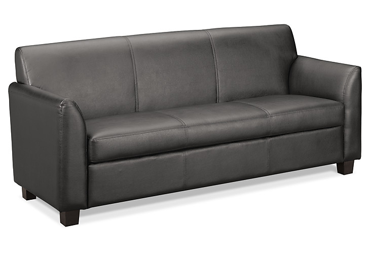 basyx HVL870 Series Tailored Sofa Gray Leather Front Side View HVL873.ST11