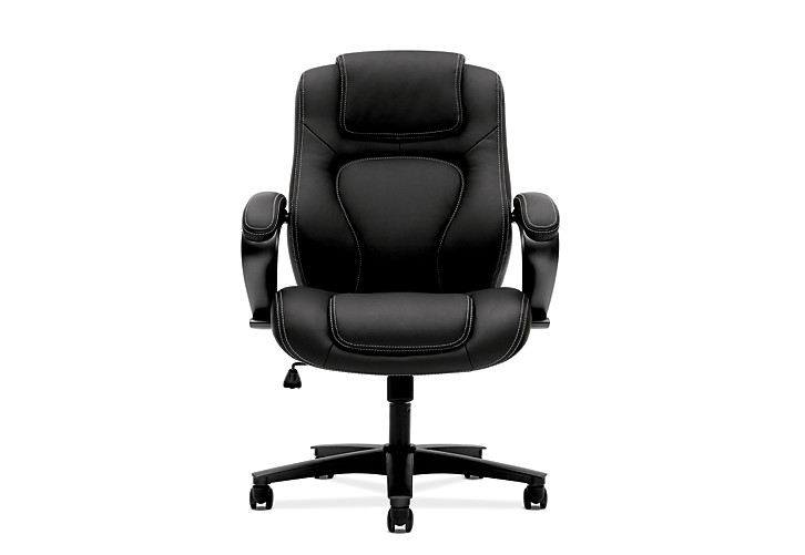 basyx by HON Executive High-Back Chair Black Leather Front View HVL402.SB11