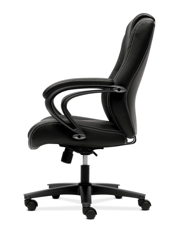 basyx by HON Executive High-Back Chair Black Leather Side View HVL402.SB11