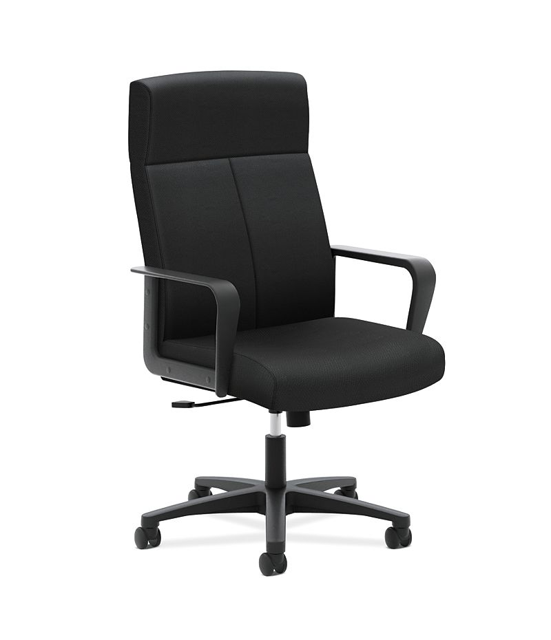 basyx HVL604 Series High-Back Executive Chair Black Front Side View HVL604.ES10
