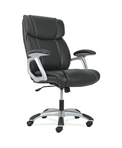 basyx by HON High-Back Executive Chair Black Fixed Arms Front Side View HVST311